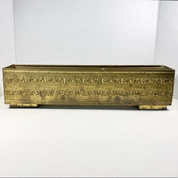 Vintage rectangular brass planter